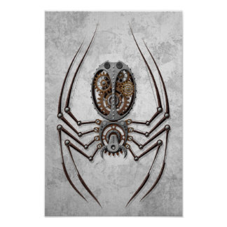Steampunk Spider on Rough Steel Poster