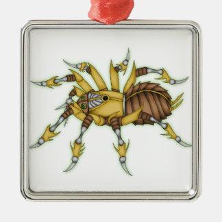 steampunk spider Silver-Colored square decoration