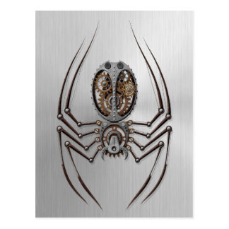 Steampunk Spider with Stainless Steel Effect Postcard