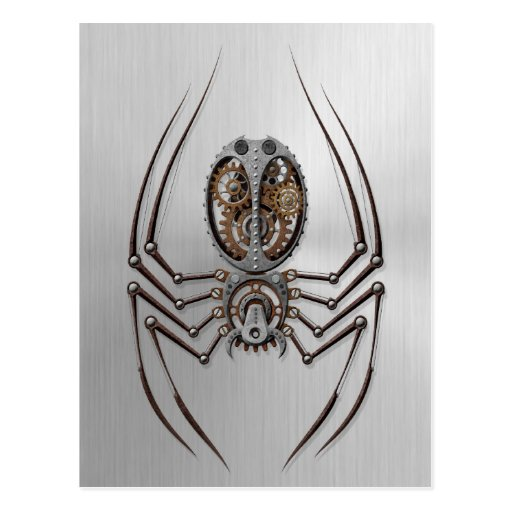 Steampunk Spider with Stainless Steel Effect Post Card