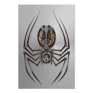 Steampunk Spider with Stainless Steel Effect Poster