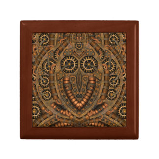 Steampunk Square Tile Gift Box, Golden Oak Gift Box