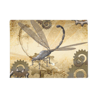 Steampunk,  steam dragonflies with gears doormat