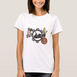 STEAMPUNK STEAM ENGINE AND GEAR DESIGN T-Shirt
