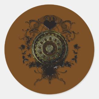 Steampunk stud art design round sticker