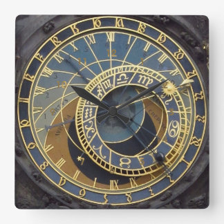 Steampunk style astronimical prague square wall clock