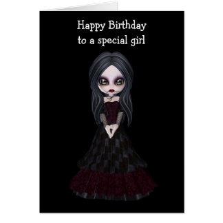 Steampunk style girl wearing black dress with red greeting card