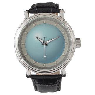 Steampunk submarine hublot throw pillow watch