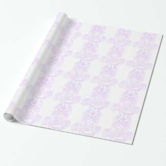 Steampunk Sugar Skull-Violet Outline Wrapping Paper