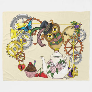 Steampunk Tea Time Owl Fleece Blanket