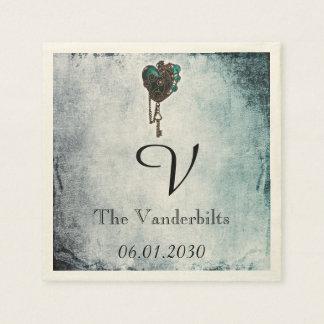 Steampunk Teal Heart Monogram Wedding Napkin Disposable Serviettes