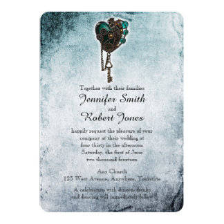 Steampunk Teal Heart Wedding Invitation