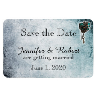 Steampunk Teal Heart Wedding Save the Date Rectangular Photo Magnet