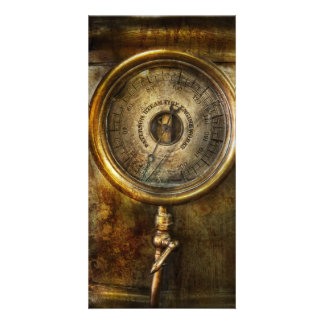 Steampunk - The pressure gauge Personalized Photo Card
