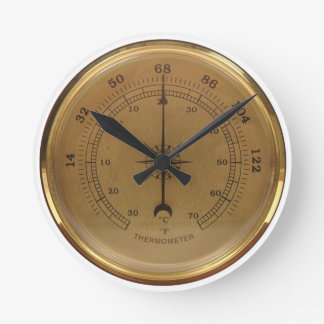Steampunk Thermometer Round Clock