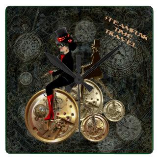 Steampunk time travel, clockwork penny farthing clocks