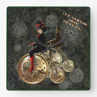 Steampunk time travel, clockwork penny farthing square wall clock