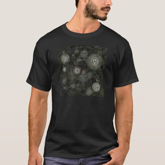 Steampunk time travel print, black, silver watches T-Shirt