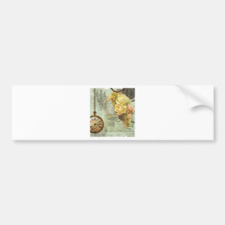 Steampunk Time & Yellow Roses Bumper Stickers