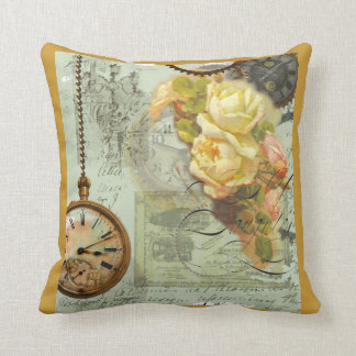 Steampunk Time & Yellow Roses Cushion