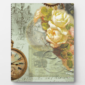 Steampunk Time & Yellow Roses Plaque