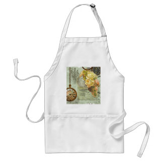 Steampunk Time & Yellow Roses Standard Apron