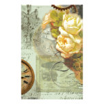 Steampunk Time & Yellow Roses Personalized Stationery