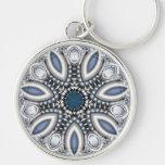 Steampunk Topaz Kaleidoscope Silver-Colored Round Key Ring
