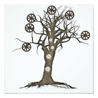 steampunk tree 13 cm x 13 cm square invitation card