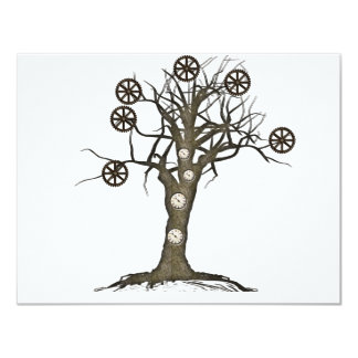 steampunk tree personalized invitations