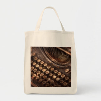 Steampunk - Typewriter - Too tuckered to type Grocery Tote Bag