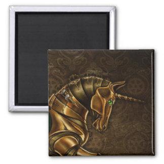 Steampunk Unicorn Damask Magnet