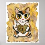 Steampunk Valentine Cat Heart Locket Key Art Print