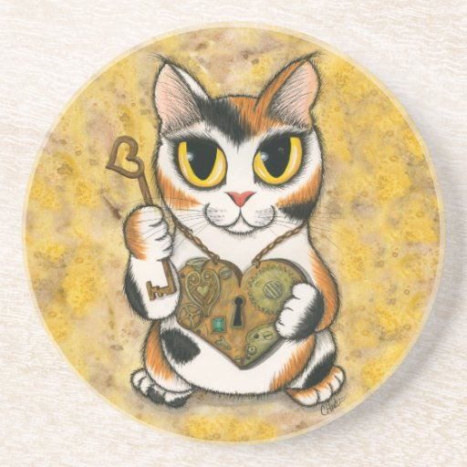 Steampunk Valentine Heart Locket Fantasy Cat Art C Beverage Coasters