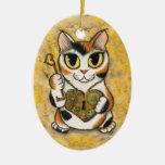 Steampunk Valentine Heart Locket Fantasy Cat Art O Ornaments