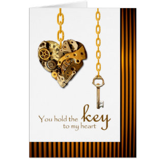Steampunk Valentine's Day for Wife, Key and Heart Greeting Card