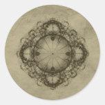Steampunk Victorian design art Round Stickers