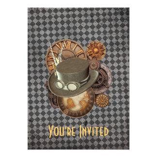 Steampunk Victorian Hats Gears Invitation