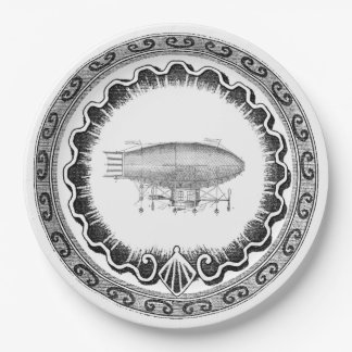 Steampunk Vintage Airship Blimp 9 Inch Paper Plate