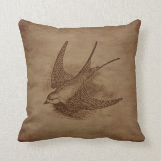 Steampunk Vintage Bird Cushion