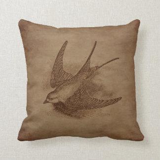 Steampunk Vintage Bird Throw Pillow