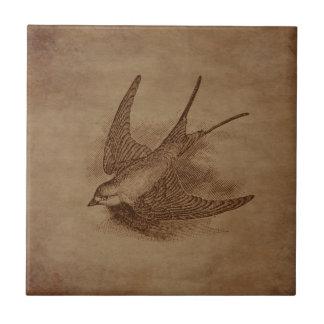 Steampunk Vintage Bird Tile