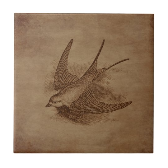 Steampunk Vintage Bird Tile