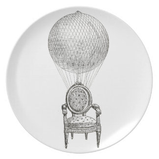 Steampunk vintage collage chair & hot-air balloon plate