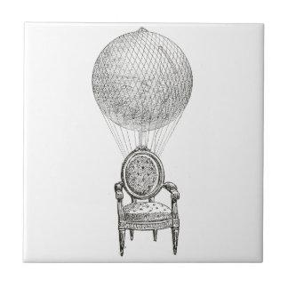 Steampunk vintage collage chair & hot-air balloon tile