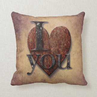 "Steampunk Vintage Heart ""I Love You"" Valentines Throw Pillow"