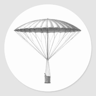 Steampunk Vintage Hot Air Balloon Drawing Classic Round Sticker