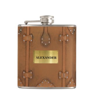 Steampunk-Vintage Leather Look Case Hip Flask
