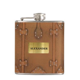 Steampunk-Vintage Leather Look Case Hip Flask