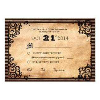 Steampunk Vintage Look Custom RSVP 9 Cm X 13 Cm Invitation Card